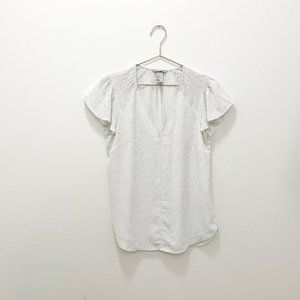 WHITE WITH BLUE DOTS H&M SHORT SLEEVE BLOUSE